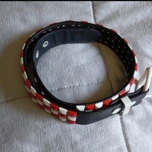 Italian Style Leather Belt Red & White Size 28